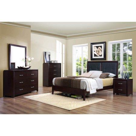 pc bedroom set in brown espresso finish