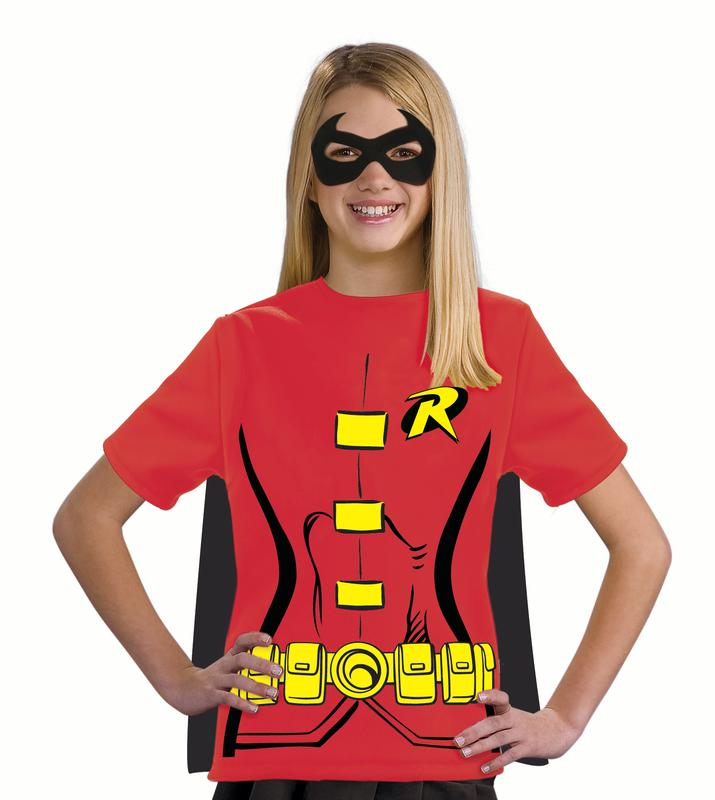 Rubies DC Comics Robin Mask & T-Shirt Costume with Cape, Red Yellow