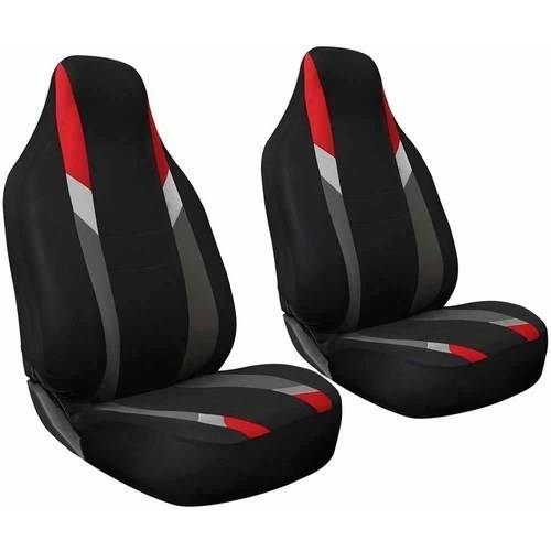 Oxgord 2-Piece Integrated Flat Cloth Bucket Seat Covers, Universal Fit for Car/Truck/Van/SUV, Airbag Compatible
