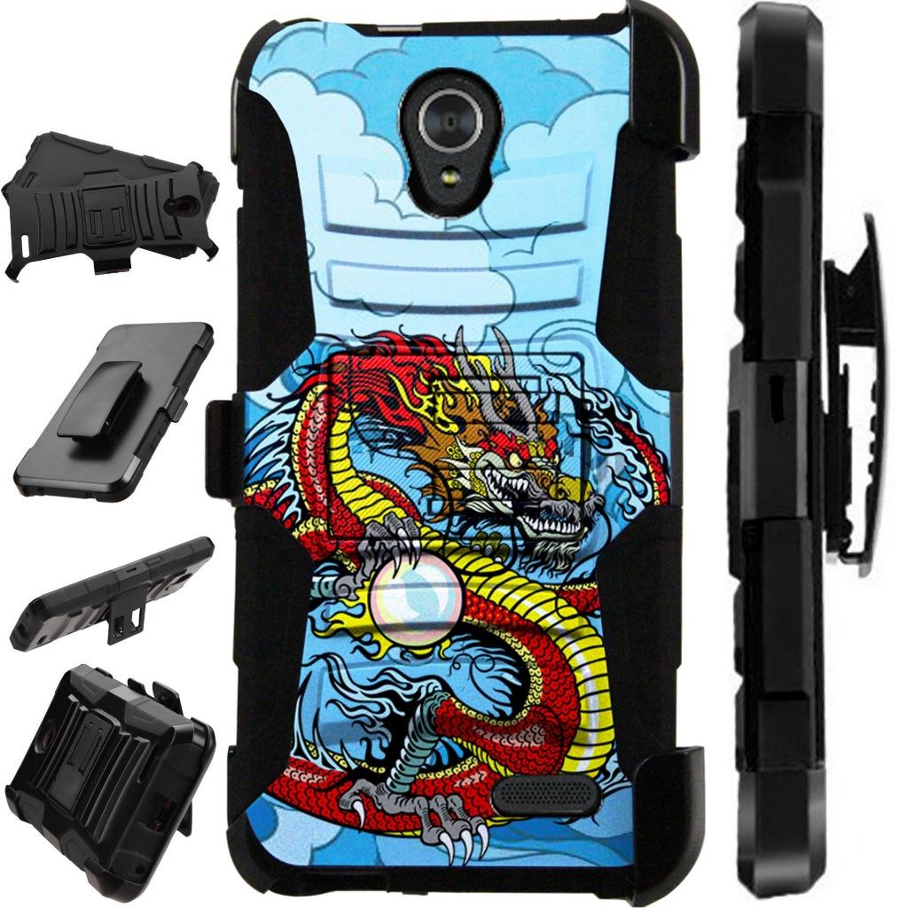 For ZTE Maven 3 / ZTE Prelude 4G LTE 2017 / ZTE Overture 3 Case Dual Duty Hybrid Armor Dual Layer Cover Kick Stand Rugged LuxGuard Holster (Red Dragon)