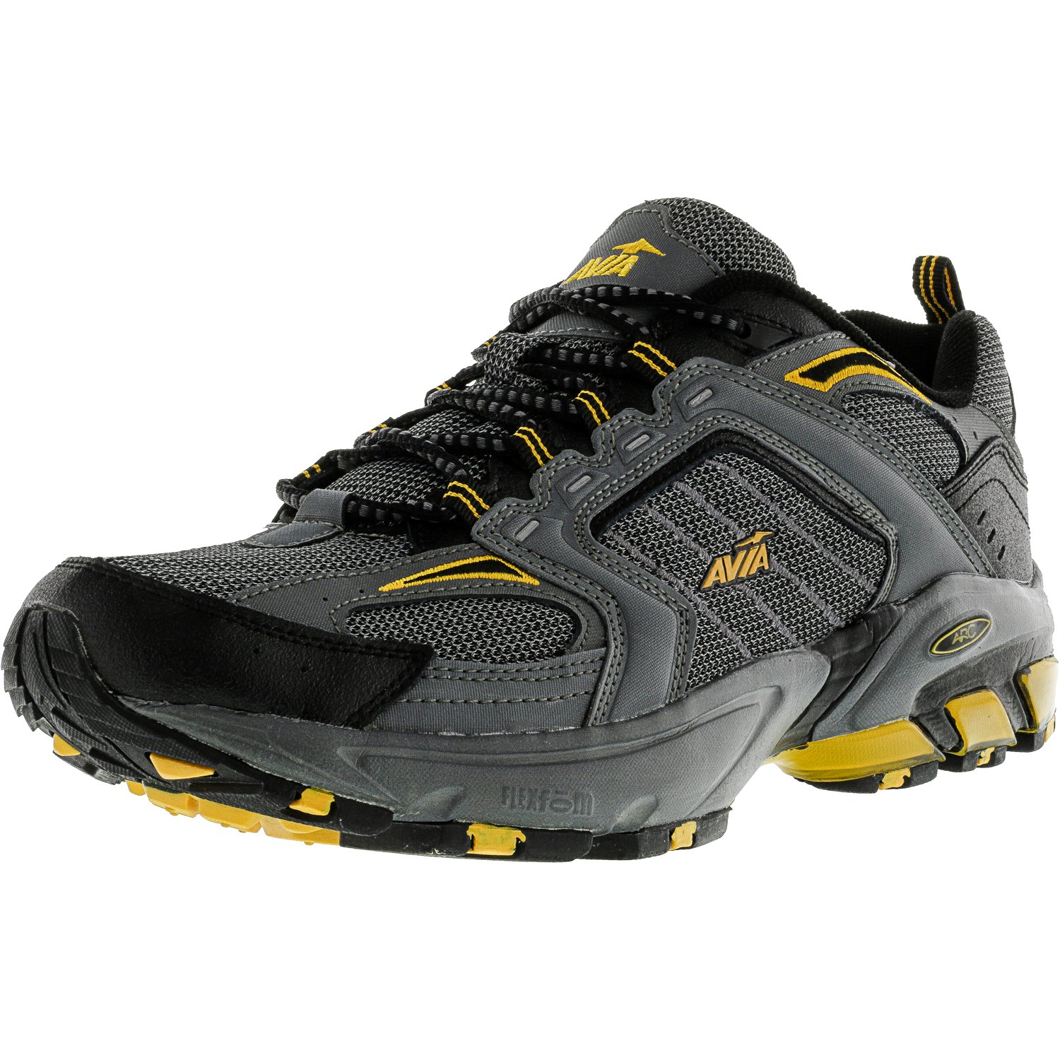 Avia Men's 6028 Dark Grey   Black Yellow Ankle-High Running Shoe 12M by Avia