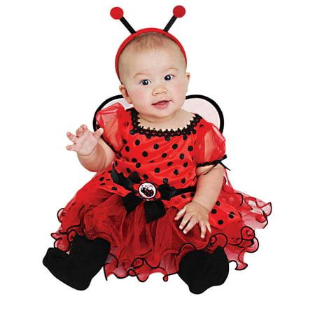 Infant Girls Red Ladybug Costume Baby Lady Bug Ruffled Dress & Headband