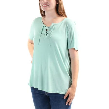 CALVIN KLEIN $49 Womens New 1466 Aqua Tie Keyhole Short Sleeve Casual Top L B+B