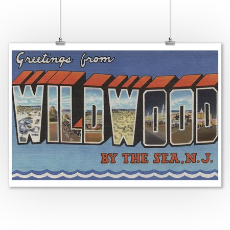 Jersey Letter - Wildwood-By-The-Sea, New Jersey - Large Letter Scenes (9x12 Art Print, Wall Decor Travel Poster)