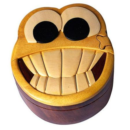 Smiley Face - Secret Wooden Puzzle Box (Jigsaw Face)