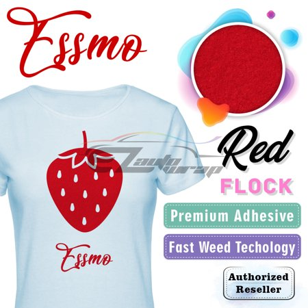 ESSMO Red Flock Heat Transfer Vinyl HTV Sheet T-Shirt 20