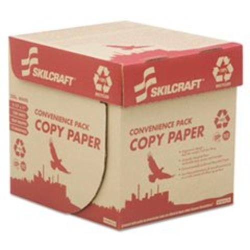 "7530016111896 SKILCRAFT Copy & Multipurpose Paper - For Laser, Inkjet Print - Letter - 8.50"" x 11"" - 20 lb Basis Weight - Recycled - 100% Recycled Content - Matte - 2500 / Box - White"