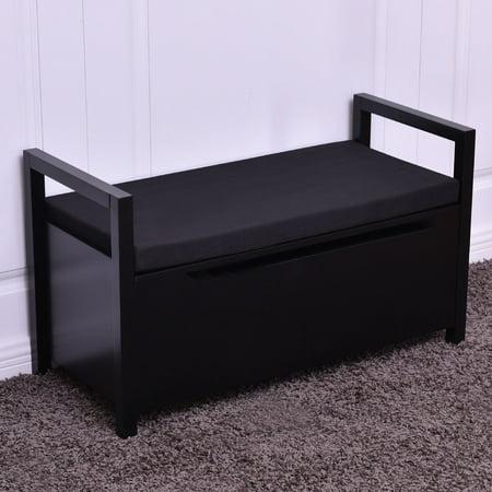 Storage Bench Seating - Costway Shoe Bench Storage Rack Cushion Seat Ottoman Bedroom Hallway Entryway Black