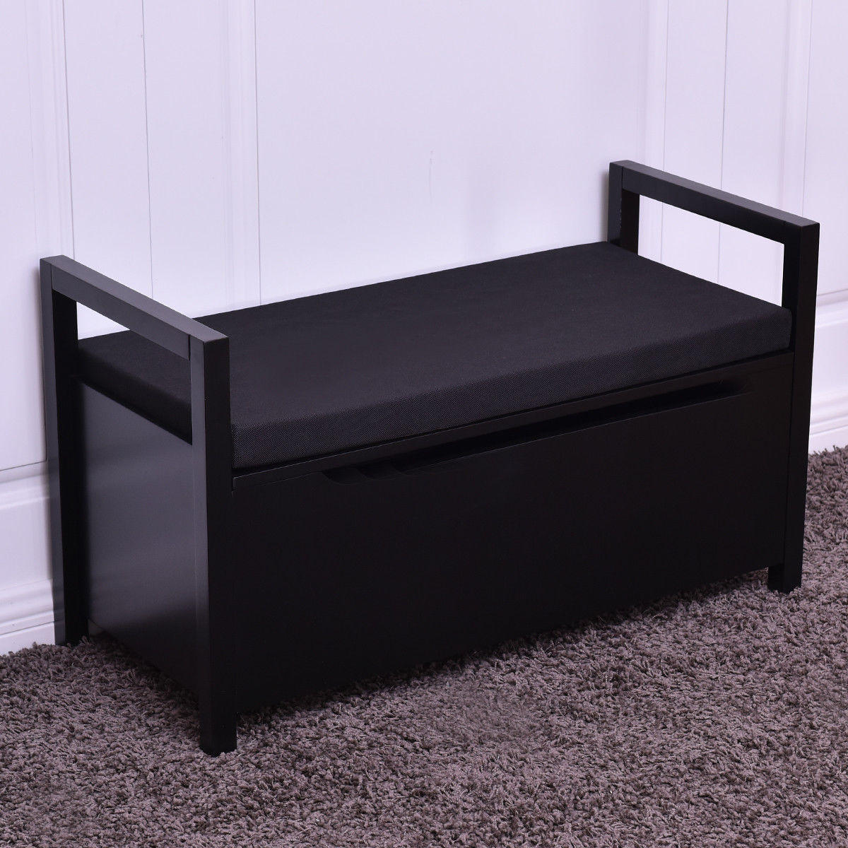 Product Image Costway Shoe Bench Storage Rack Cushion Seat Ottoman Bedroom  Hallway Entryway Black