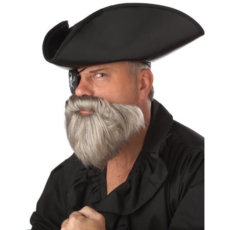Fake Grey Beard (Gray Captain Beard and Stache Set Adult Halloween)