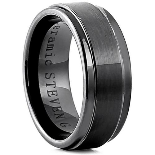 Doma Jewellery SSCER0639.5 Ceramic Ring 10 mm. Wide, Size 9.5