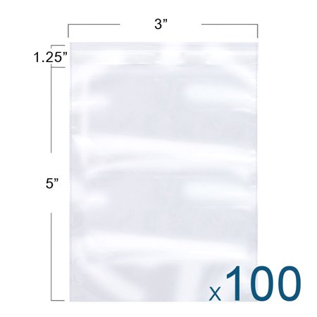 Reclosable Packing Poly Bags - The Elixir Packaging 100 Count 3 x 5 Clear Reclosable Poly Bag, Meets USDA FDA Standards