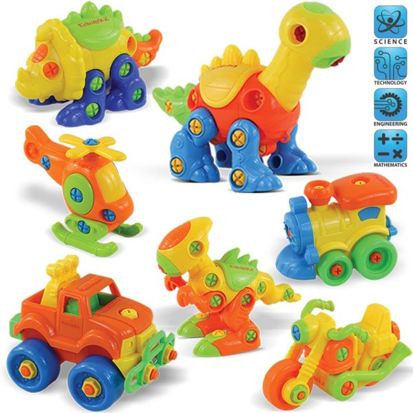Kidwerkz Set of 7 Take Apart Toys - Dinosaurs, Helicopter, Train, Truck, Motorcycle