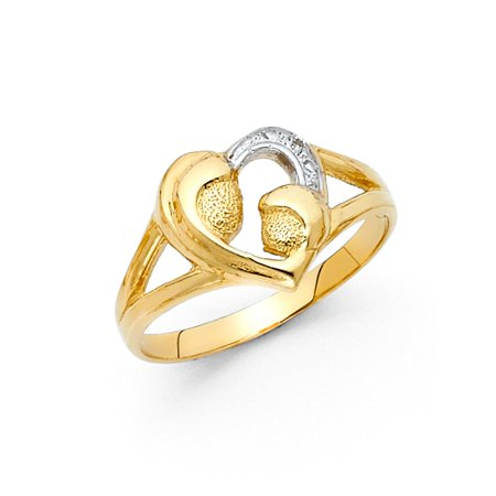 14k Two Tone Italian Solid Gold 10mm Mother & Daughter Hearts Te Amo Love Band Ring Size 7.5 Available All Sizes