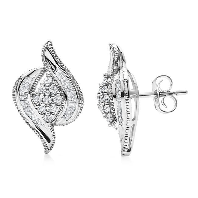 1/2 Carat Natural Diamond Cluster Earrings in 14K White Gold