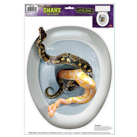 Snake Toilet Topper Cling, 13 1/2 inches long and 11 1/4 inches wide. Peel and place toilet seat shaped sticker. By Beistle (Toilet Toppers)
