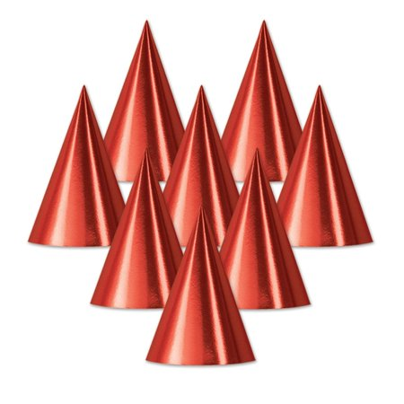 Club Pack of 48 Red Fun and Festive Party Foil Cone Hats 6.75