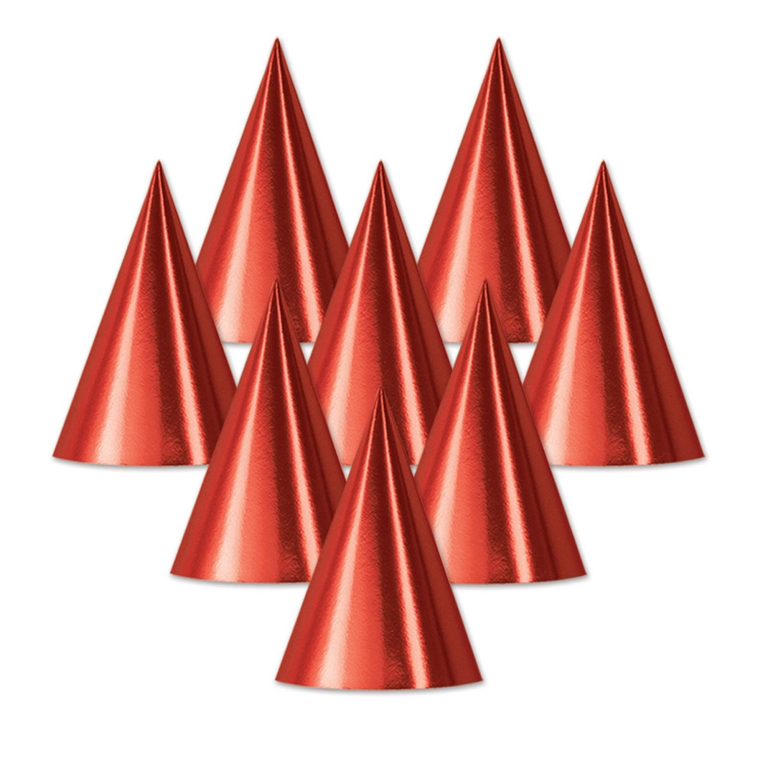 """Club Pack of 48 Red Fun and Festive Party Foil Cone Hats 6.75"""""""