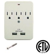 3 Outlet Plug Adapter With USB Charging Ports