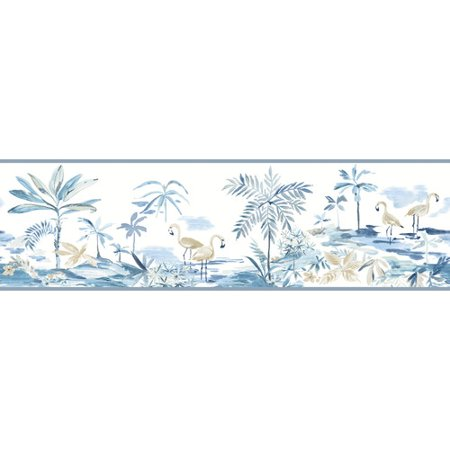 879530 Flamingos Lagoon Blue Wallpaper Border