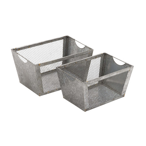 Woodland Imports Multipurpose 2 Piece Metal Wire Basket Set
