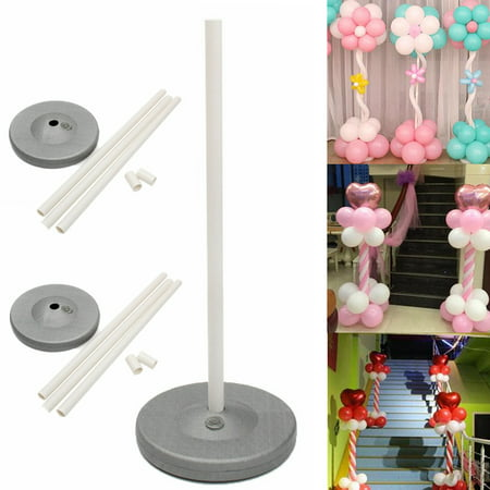 Balloon Column Kit (2 Sets Balloon Column Stage Stand Kits by The Elixir Party 59 Inch Height and 2 Lbs Water Fillable Base with 6 Pcs Balloon Holder Clips, Festival)
