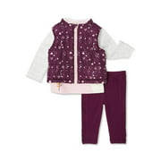 Wonder Nation Baby Girls Vest, Long Sleeve Top & Pants, 3pc Outfit Set