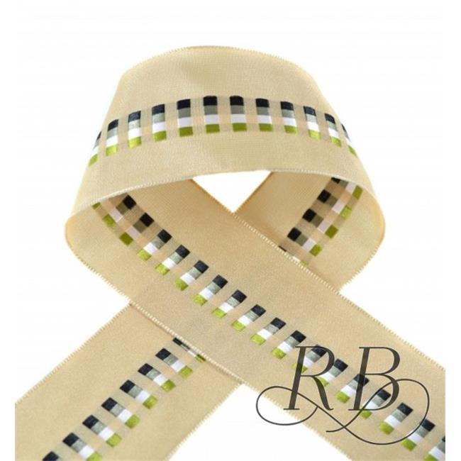 Ribbon Bazaar 4658 1.5 in. Wired Taffeta Ribbon with Block Motifs, Taupe - 10 Yards