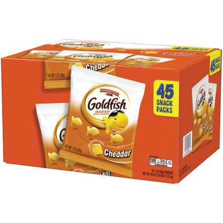 Pepperidge Farm Goldfish Cheddar Crackers, 45 oz. Multi-pack Box, 45-count 1 oz. Single-Serve Snack Packs](Clackers For Sale)
