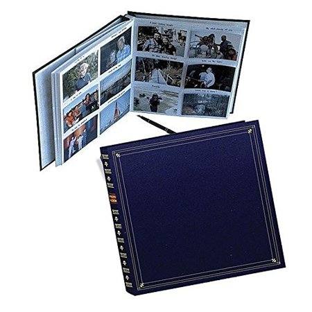 Pioneer 300 Pocket Memo Photo Album - Archival, Memo Space, European Bonded Leather, Bookshelf Design, Fits 3.5 x 5 Inch Photos - Navy Blue