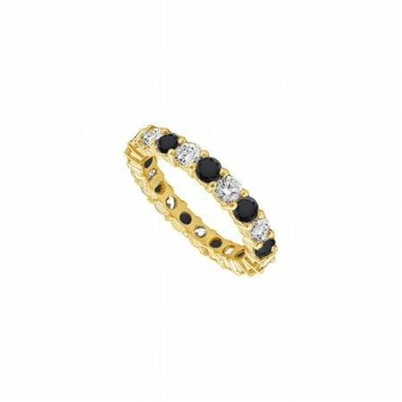 UB14YR050DBD253-101RS6.5 Black & White Diamond Eternity Band 14K Yellow Gold, 0.50 CT - Size 6.5 ()