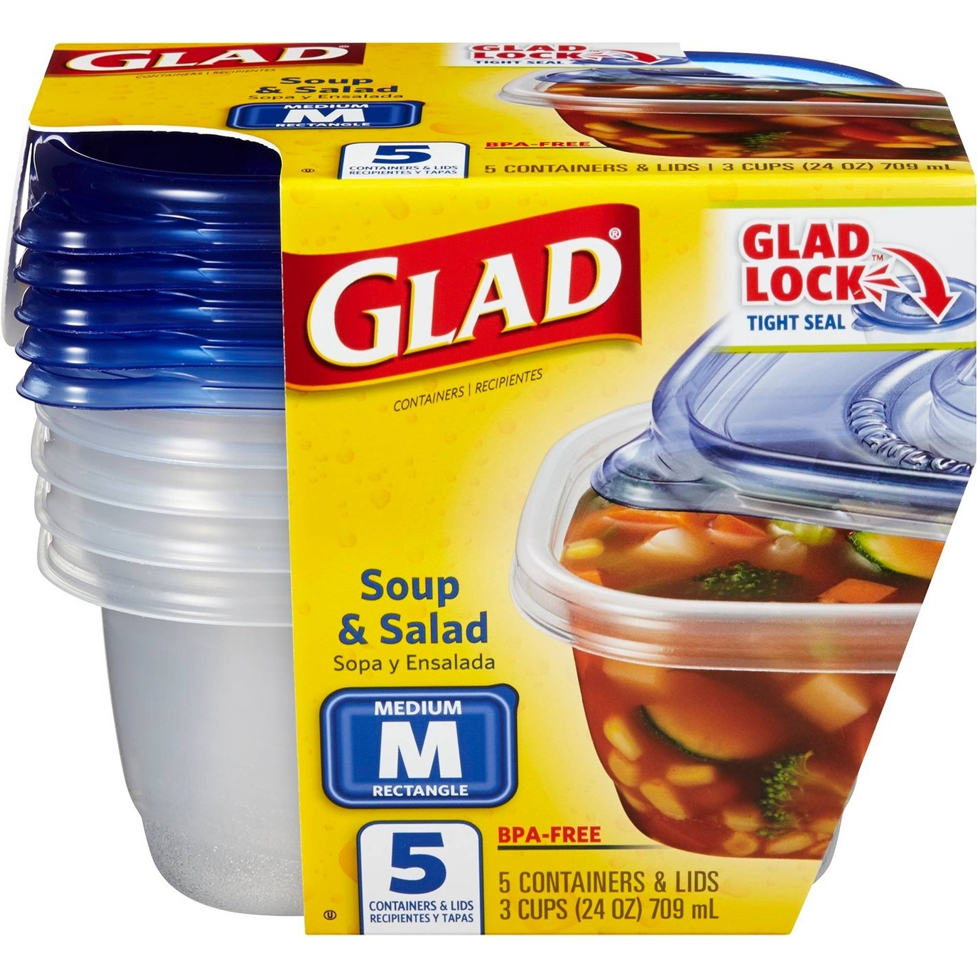 Glad Food Storage Containers, Soup and Salad, 24 Ounce, 5 Count, BPA Free