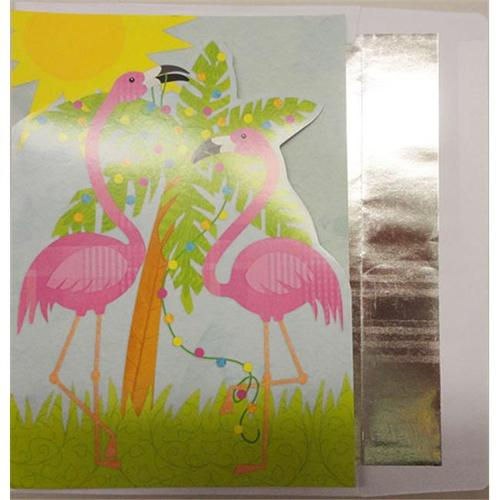 Bulk Buys Flamingo Diecut Christmas Cards - Pack of 5