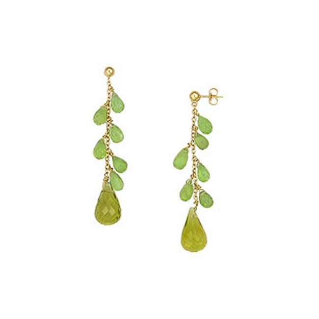 FineJewelryVault UBAER101-101 Peridot and Lemon Quartz Earrings : 14K Yellow Gold - 25.00 CT TGW