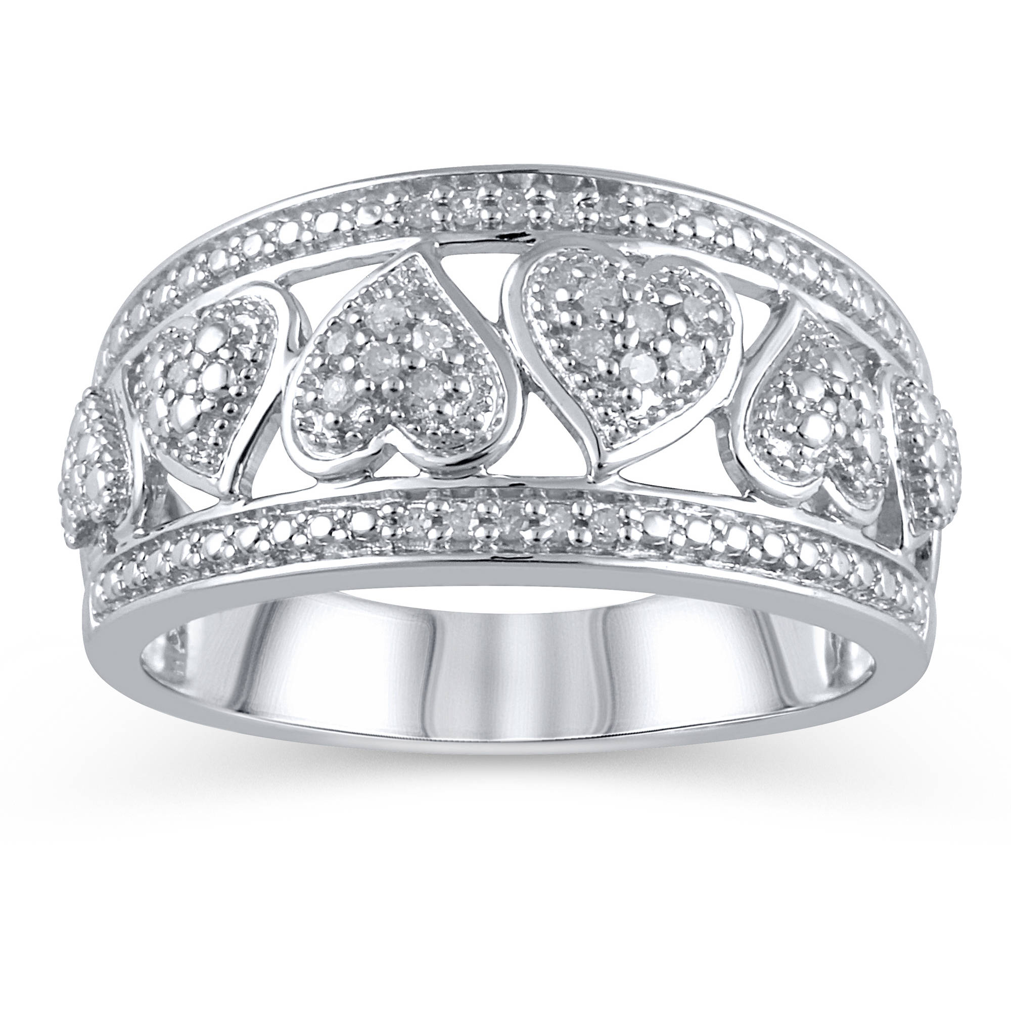 1/10 Carat T.W. Sterling Silver Heart Band