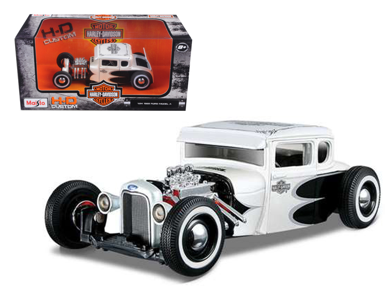 1929 Ford Model A White Harley Davidson 1 24 Diecast Model Car by Maisto by Maisto