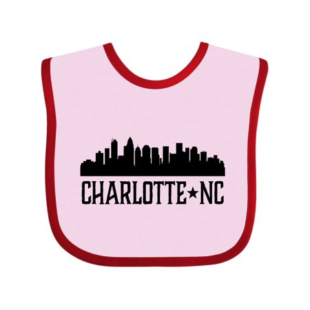 Charlotte North Carolina Skyline NC City Baby Bib Pink and Red One Size - Costume Store Charlotte Nc