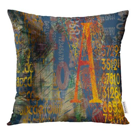 ECCOT Abstract Collage Number Geometric and Typo Colorful Red Yellow Blue Old Gold Black Pillow Case Pillow Cover 18x18 inch ()