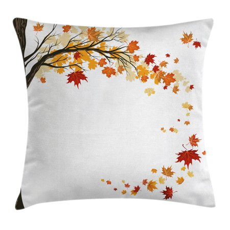 Fall Decorations Throw Pillow Cushion Cover, Leaf Group Motion in Mother Earth Transition from Summer to Winter Decor, Decorative Square Accent Pillow Case, 20 X 20 Inches, Brown Orange, by Ambesonne - Fall Leaves Decorations