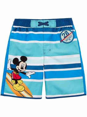 Disney Toddler & Boys Blue Stripe Mickey Mouse Surf Board Shorts Swim Trunks