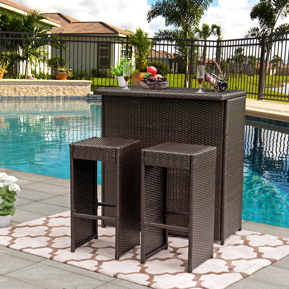 Sundale Outdoor 3PC Wicker Bar Set Bar Table and 2 Bar Stools Set Patio Garden Backyard Wicker Furniture Set