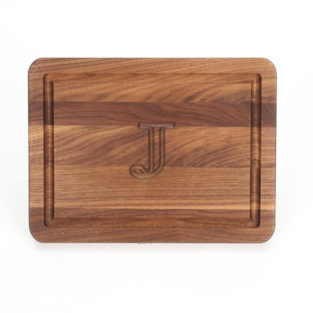 BigWood Boards 220-J Carving Board, Rectangular Carving Board with Juice Well, Large Monogrammed Cutting Board with Juice Groove, Maple,