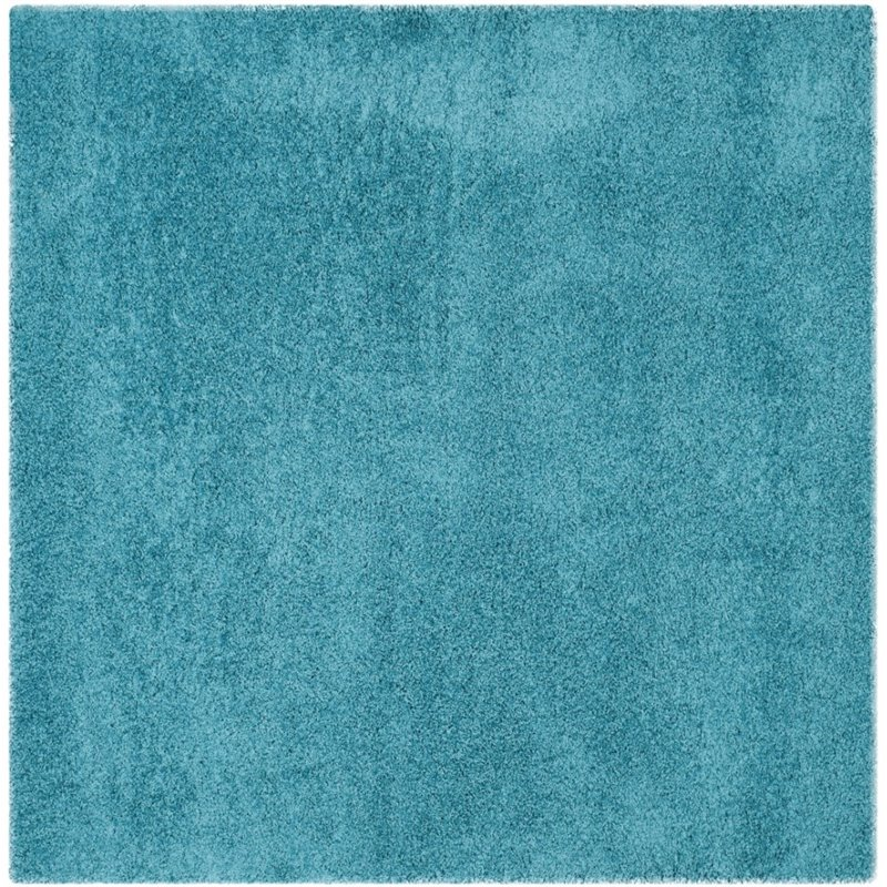 "Safavieh Laguna Shag 6'7"" Square Power Loomed Rug in Turquoise - image 1 of 10"
