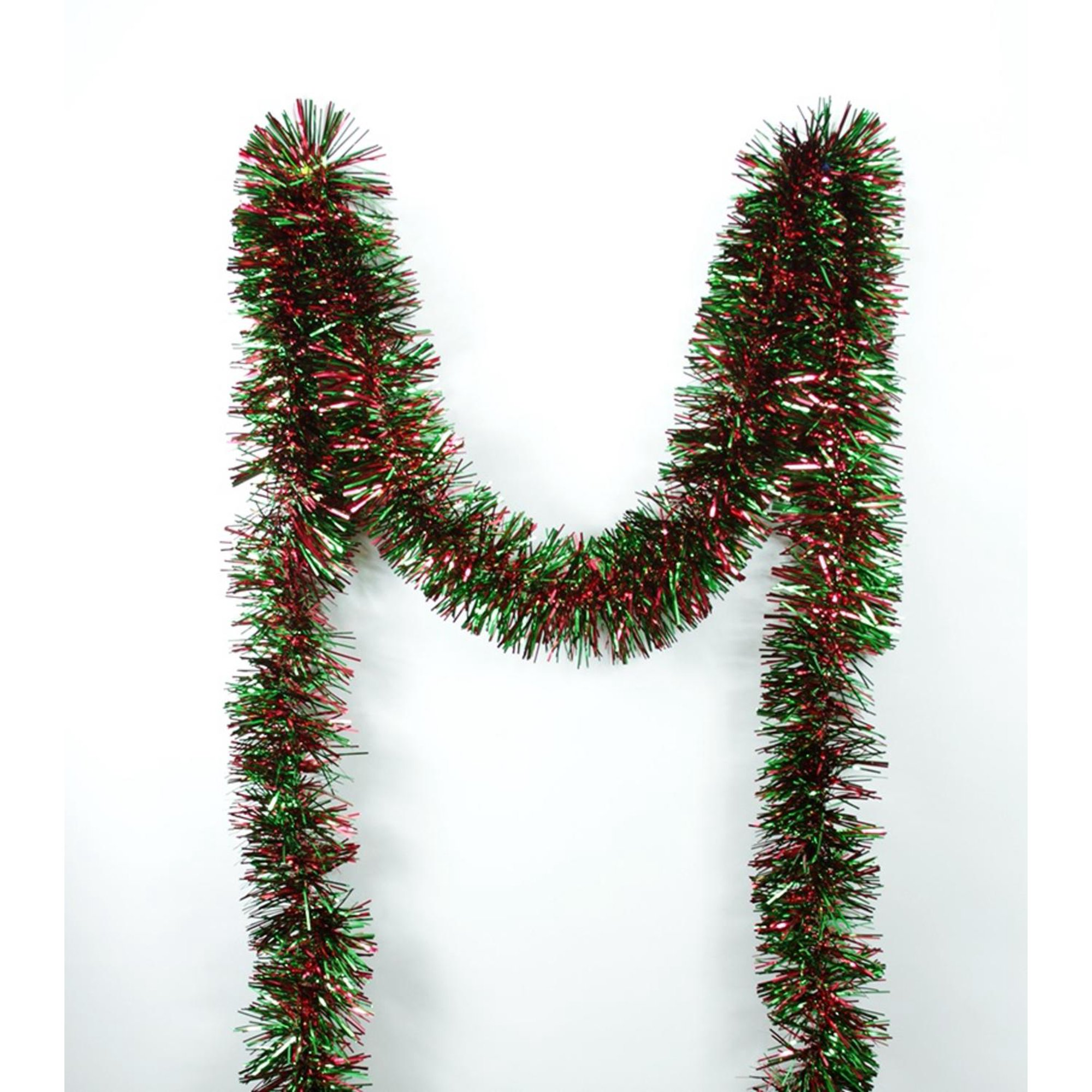 Christmas Tinsel Garland.50 Shiny Forest Green And Red Christmas Tinsel Garland Unlit