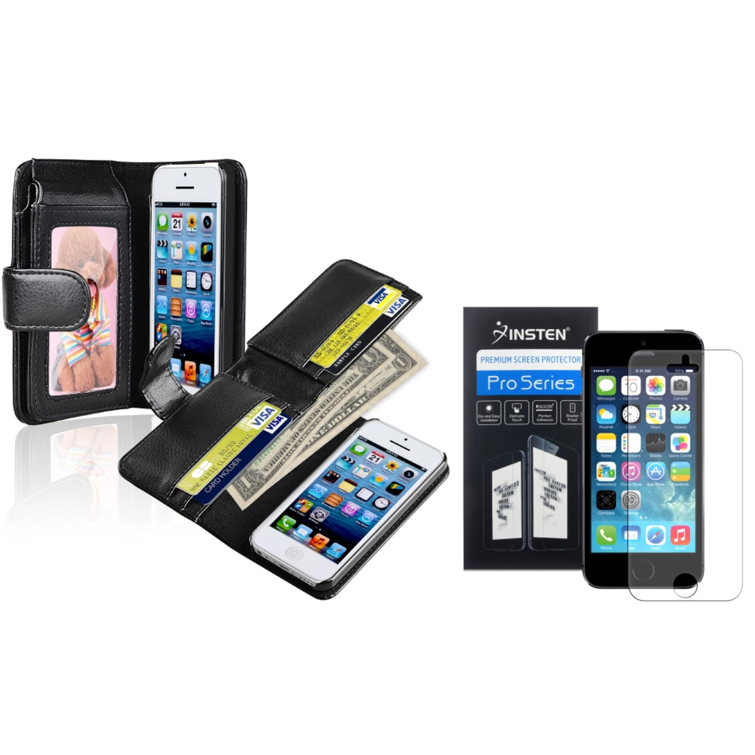 Insten Black Wallet Leather Credit Card Case Anti-Glare Protector For Apple iPhone 5C