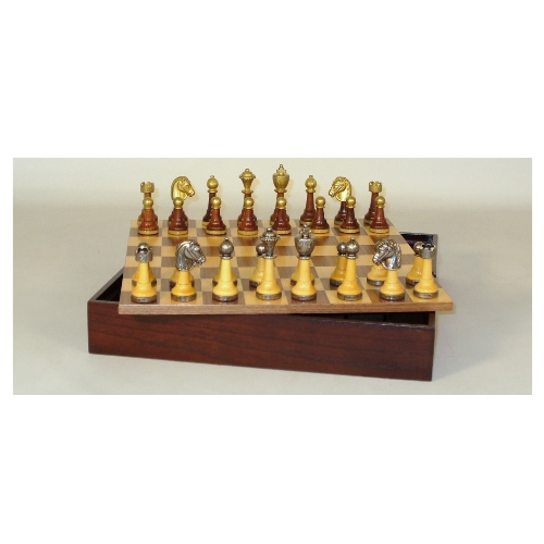 WorldWise Chess Set with Wood Metal Men and Storage by World Wise Imports