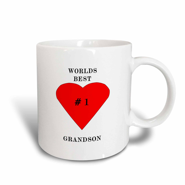 3dRose The Worlds Best Grandson, Ceramic Mug, 15-ounce by 3dRose
