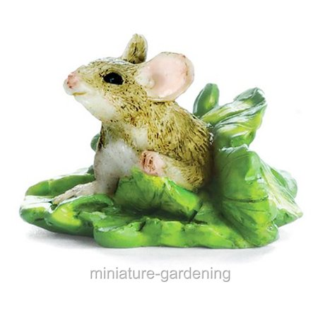 Miniature Mouse in Lettuce for Miniature Garden, Fairy Garden (Mouse Garden)