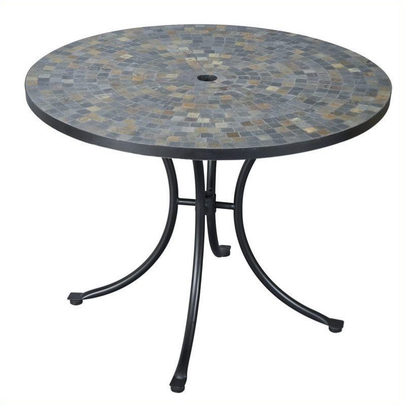 Home Styles Stone Harbor Outdoor Tile Top Dining Table, Black/Slate