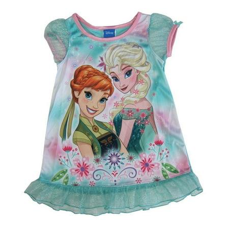 Disney Little Girls Teal Frozen Anna Elsa Print Ruffle Nightgown 2-4T - Disney Frozen Elsa Gown